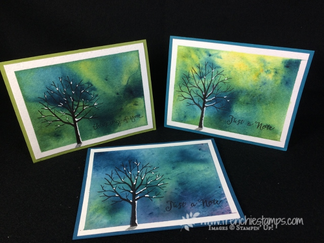 Brusho Crystal Color, Sheltering Tree, Frenchie Stamps, Stampin'Up!, Soft Saying, Feather Together,