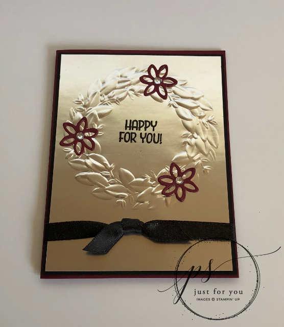 Seasonal Wreath Embossing on Foil, Free Printout, Frenchiestamps, Stampin'Up!