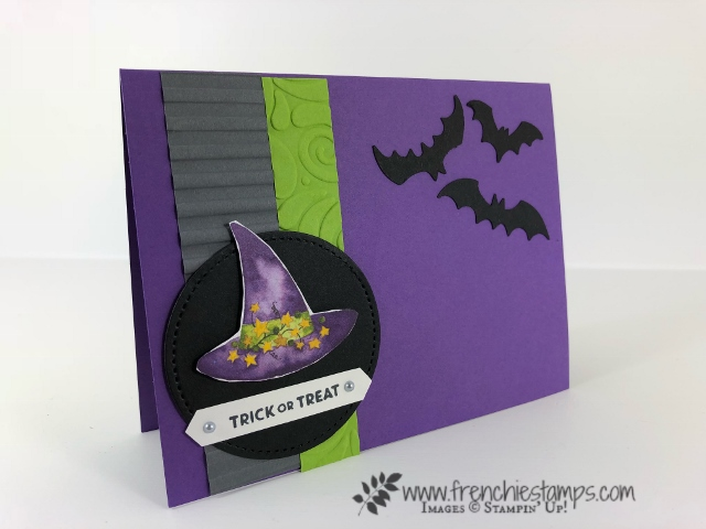 Halloween card from leader swaps. Designer paper Toil and Trouble Designer Paper, Stamp set Cauldron Bubbles, Spooky Bats Punch. . All product by Stampin'Up! and can be purchase at frenchiestamps.com