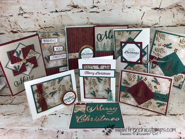 How to make 10 cards with one sheet of 12 x 12 this is call One Sheet Wonder. This is the Joyous Noel designer paper by Stampin'Up!. All product can be purchase at frenchiestamps.com