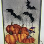 How to use the Toil and trouble designer paper for a simple greeting card. Perfect for Halloween card or fall card. The Winter Woods stamp set is the perfect touch for a fall scenery. All product are by Stampin