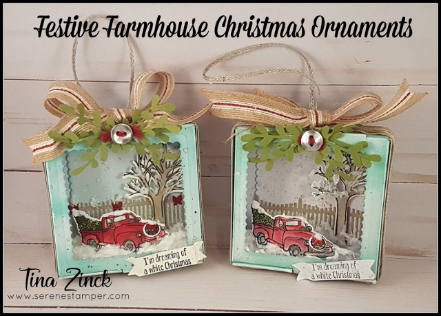 Special guest on my blog to share how to make a beautiful Christmas Ornament. Using the pizza box and the Festive Farmhouse Christmas Ornament. All products by Stampin'Up! in the USA you can purchase at frenchiestamps.com and in Canada you can purchase at theserenestamper.com