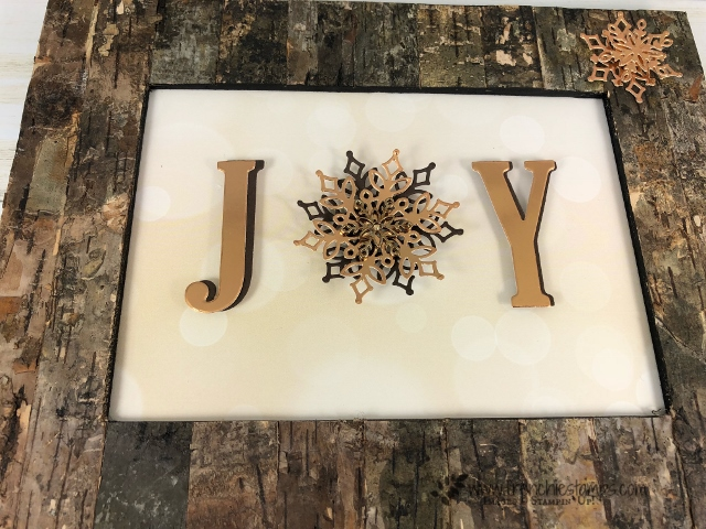 How to make a JOY rustic Christmas Frame. Simple with the Large Letters and Snowfall Thinlits. All product