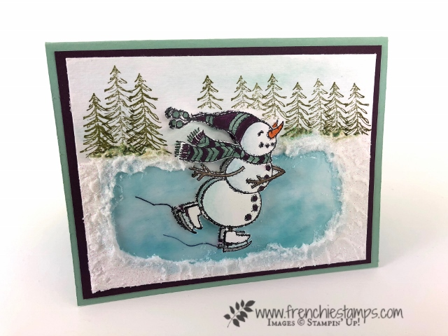 How to make a ice ring on paper with fine-tip glue and Shimmery White embossing past. How to video with frenchiestamps. All product are by Stampin'Up! and can be purchase at frenchiestamps.com Stamp set Spirited Snowmen and Timeless Tiding