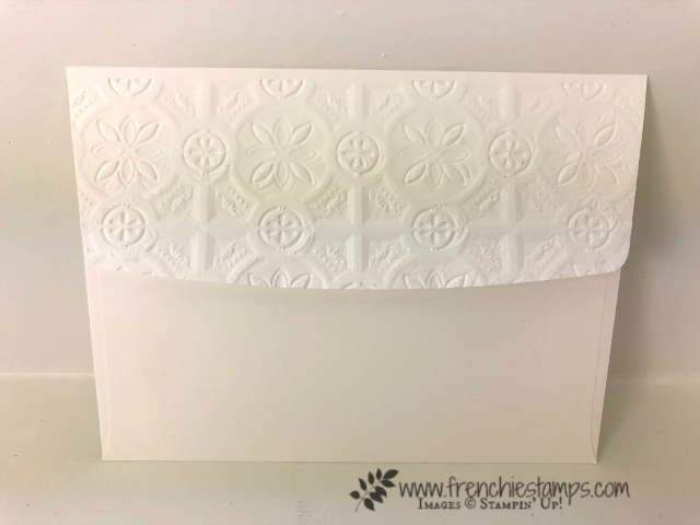 How to emboss a envelop flap. Yes it is okay to mail and will stay emboss in the travel. Product by Stampin'Up! and can be purchase at frenchiestamps.com