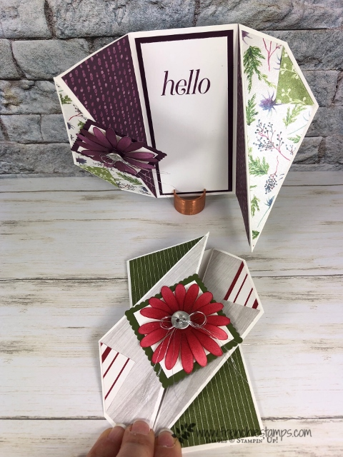 Wow Fold twisted fold. Live class with Frencihestamps. All products by Stampin'Up! avaialbel at Frenchiestamps.com