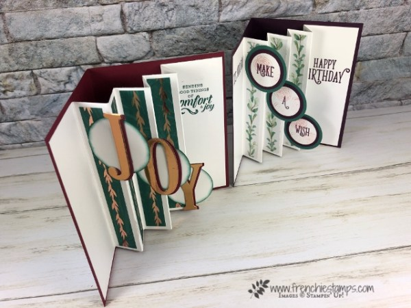 wow Fold, tab accordion fold. Large Letters. Live class with Frenchie Stamps. All product by Stampin'Up! available at frenchiestamps.com