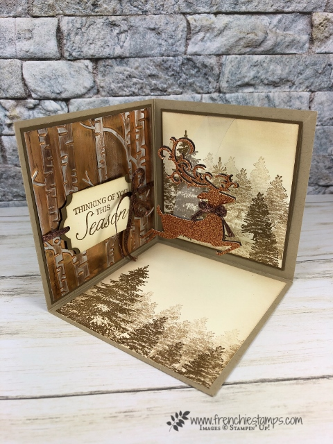 wow Fold,3 side card. Dasing Deer. Live class with Frenchie Stamps. All product by Stampin'Up! available at frenchiestamps.com