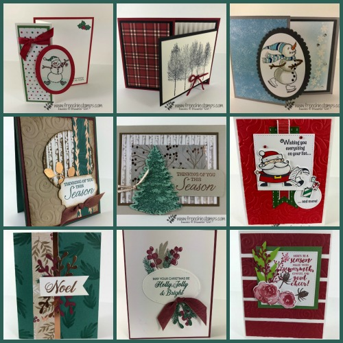 Christmas Swap with the leader group. All cards showcase products from Stampin'Up! Holiday 2018 catalog. All can be purchase at frenchiestamps.com