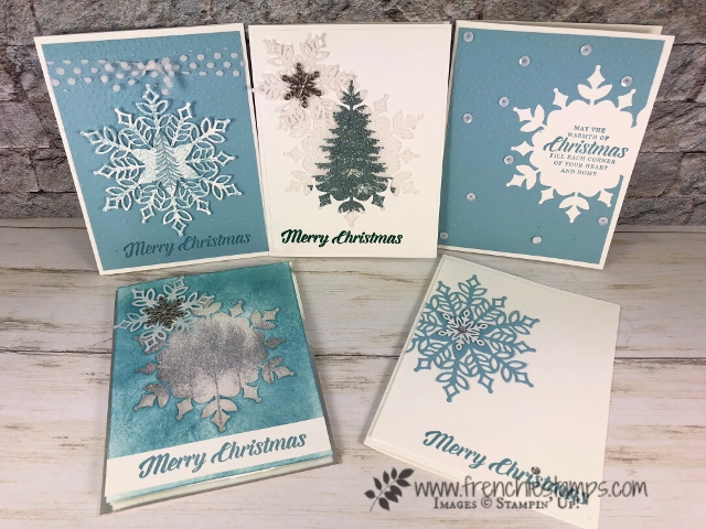 Using the Snowfall Thinlits. The cards are 2 out of one die cut. . Stamp set Winter Woods. How to make a Snowflake window glitter. All product by Stampin'Up! and can be purchase at frenchiestamps.com