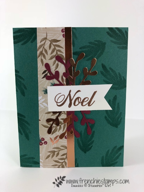 Christmas Swap with the leader group. All cards showcase products from Stampin'Up! Holiday 2018 catalog. All can be purchase at frenchiestamps.com Joyous Noel