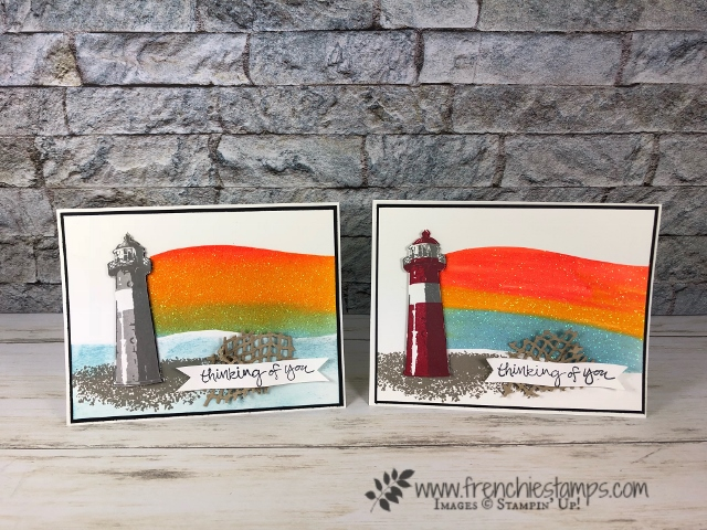 High Tide stamp set. Rainbow Embossing Paste Technique. Live on Facebook and You tube with Frenchie.