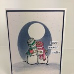 Technique Triple masking. Stamp set Spirited Snowman. Perfect for valentine cards. All product by Stampin