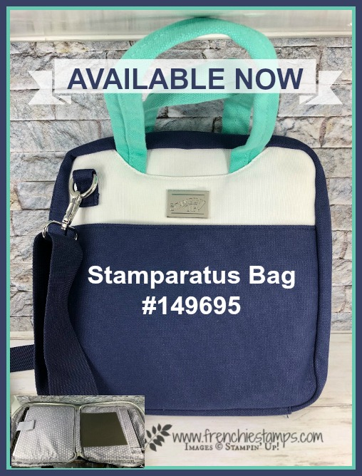 Stamparatus Bag is available NOW. See the inside out in my video. Product by Stampin'Up! available at frenchiestamps.com
