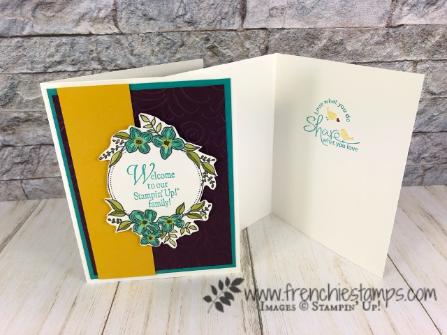 I made these lovely cards using the Floral Frames to welcome my new teammates. All detail to join us on my blog at frenchiestamps.com best deal is you get $175 of Stampin'Up! products for only $99 and it ship to you for free.