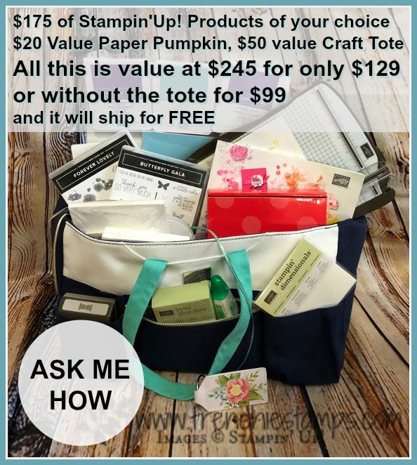 Get a value of $245 of Stampin'Up! prduct for only !129 or $195 for $99. It is a great time to join Frenchie Team.  Stampin'Up! Craft and Cart Tote