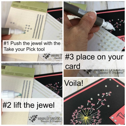 Take Your Pick to apply  Jewels  on cards. Best tip for pearls, rhinestone and jewels . Tool is by Stampin'Up! available at Frenchiestamps.com