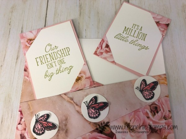 All about Diagonal Cut on cards. Live class on You Tube with Frenchie and Holly. All product by Stampin'Up!. Detail at frenchiestamps. Diagonal Pockets.