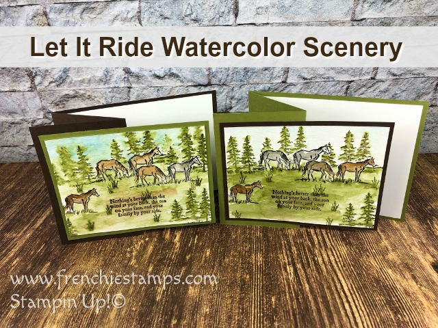 Let It Ride Watercolor Scenery. Great masculine card or for the one that love horses. All product by Stampin'Up! available at frenchiestamps.com