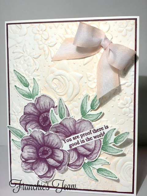 Limited Edition Stampin'Up! products. Country Floral embossing folder. Painted Season stamp set and Four Season Framelites die. Available At frenchiestamps.com