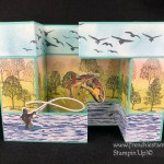 Great masculine card with the Best Catch, Lovely as a Tree, High Tide. 3-D fold great to showcase a scenery. All supplies by Stampin