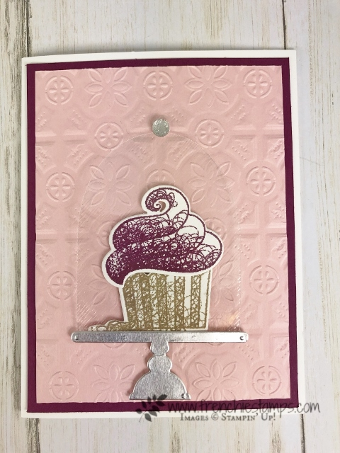 Perfect card for a celebration or birthday. Hello Cupcake stamp set and Call Me Cupecake Framelits. All product by Stampin'Up! available at frenchiestamps.com