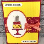 Bright cards with Piece of Cake stamp set and Cake Builder Punch. All product by Stampin