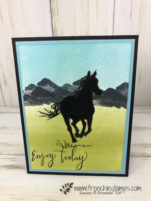 How to make a silhouette with a detail stamp. Let it ride is a great set to start doing a silhouette. All supplies by Stampin'Up! available at frenchiestamps.com
