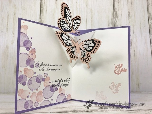 Pop Up butterfly with the Beauty Abounds, Butterfly Beauty Thinnlits Dies. All product by Stampin'Up! available at frenchiestamps.com