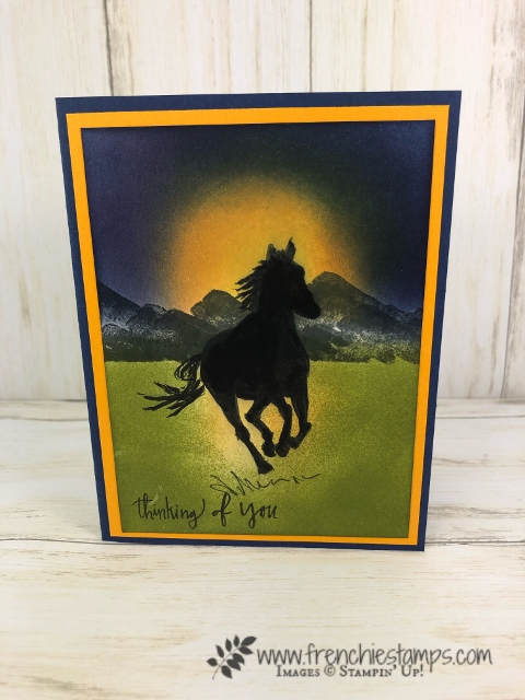 Silhouette and Sunrise or Sunset using Let it Ride and Waterfront stamp set. All product by Stampin'Up! available to purchase at frenchiestamps.com