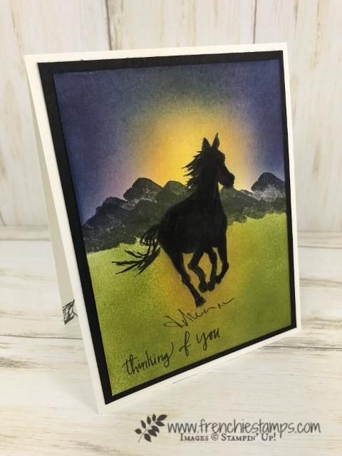 Silhouette and Sunrise using Let it Ride and Waterfront stamp set. All product by Stampin'Up! available to purchase at frenchiestamps.com