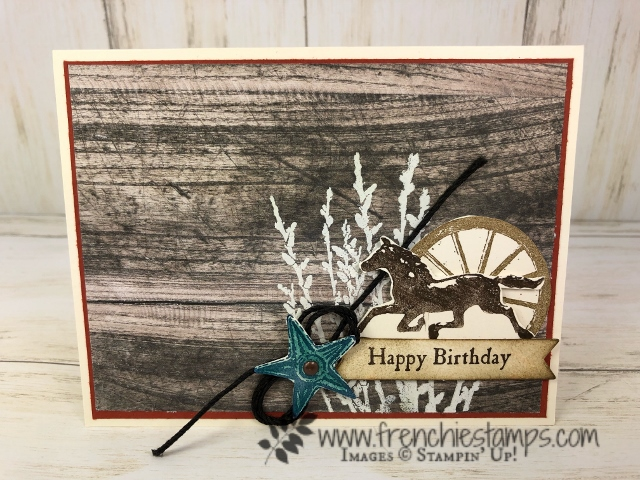 Last chance to get the Wood Textures Designer Paper. Stamp set is Country Road. All product by Stampin'Up! available at Frenchiestamps.com