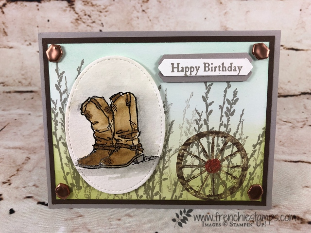 Country Road and Country Linvin' Stamp set for a awesome masculine card. All product by Stampin'Up! available at frenchiestamps.com
