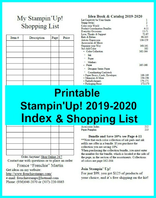 Printable Stampin'Up! 2019-2020 Bundle list with a Shopping list. Available at frenchiestamps.com
