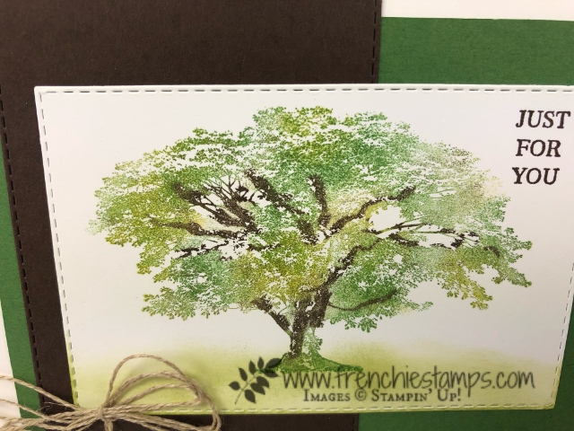 Shaded tree from Rooted in Nature. Learn how to have multi color of leaves. Using Sponge Dauber. All supplies by Stampin'Up! available at Frenchiestamps.com