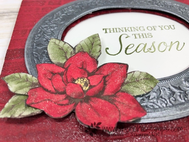Christmas in July card class on You Tube with Frenchie and Holly. Heirloom Frames Dies And 3D Embossing Folder, Brick and Mortar 3-D folder. All product by Stampin'Up! available at frenchiestamps.com