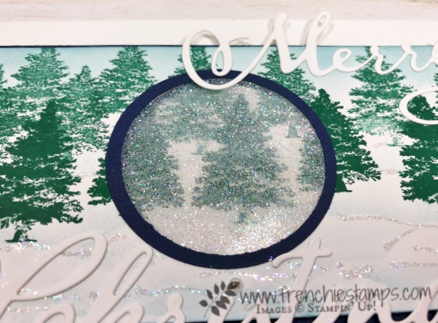 Christmas in July card class on You Tube with Frenchie and Holly. Glitter Window. Stamp set Winter Wood. All product by Stampin'Up! available at frenchiestamps.com