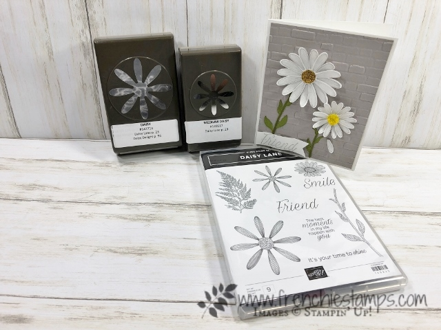 quick and simple card use the Daisy Lane stamp set and both daisy punch. The back ground is emboss with the 3-D Brick & Mortar folder. All products are by Stampin'Up! available at frenchiestamps.com
