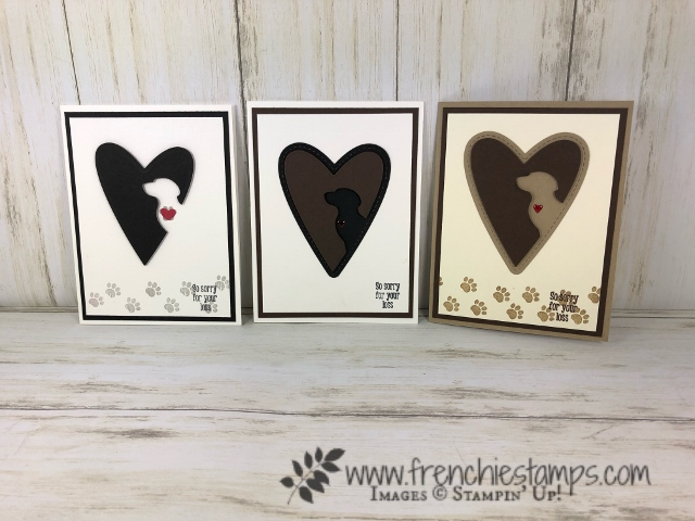 Paw Print on Your Heart. Using the Happy tail stamp set, Dog builder punch and Stitched Be mine die. All product by Stampin'Up! available at frenchiestamps.com