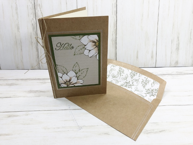 Magnolia Lane Memories and More Large Card and envelop. How to add a insert . All products by Stampin'Up! available at frenchiestamps.com