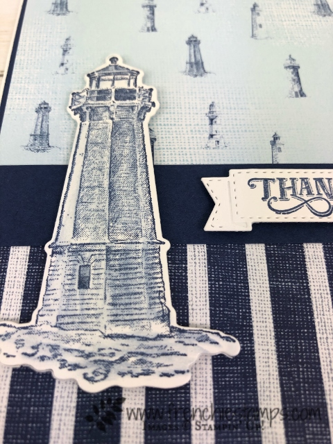 Quick and simple card using the stamp set Sailing Home with the Come Sail Away designer paper. Free printable instruction. All product s from Stampin'Up! available at frenchiestamps.com