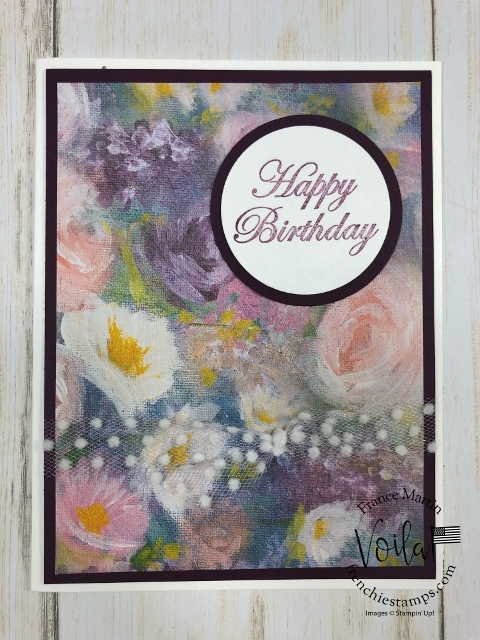 Quick and simple card with  Perennial Essence designer paper. Stamp Set Magnolia Blooms. All product by Stampin'Up! available at frenchiestamps.com #stampinup #stamping #frenchiestamps #cardmaking #papercrafts #handmadecards