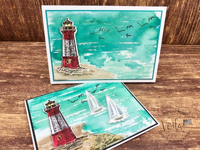 Sailing Home bundle with the Birch stamp for a ocean scene with light house. Using the Pigment Sprinkle for the color. All product by Stampin'Up! available at frencistamps.com  I have the how to video. #stampinup #stamping #frenchiestamps #cardmaking #papercrafts #handmadecards #sailinghomebundle #stampingtechniquehowtovideo