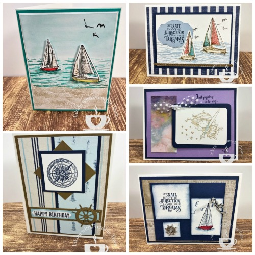 Swaps with Frenchie' Team. Stamp set New Wonders and Sailing Home. All supplies by Stampin'Up! available at frenchiestamps.com