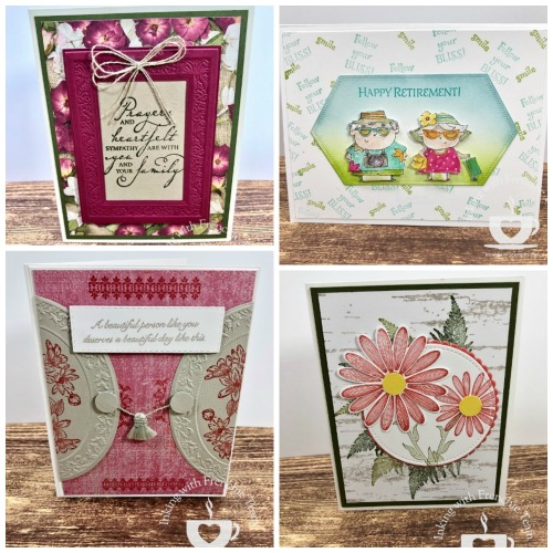 Swaps with Frenchie' Team. Stamp set Woven Heirlooms, Very Versailles, Fanciful Fragrance. On To Adventure, Daisy Lane. Designer Paper Pressed Petals and Woven Threads. All supplies by Stampin'Up! available at frenchiestamps.com