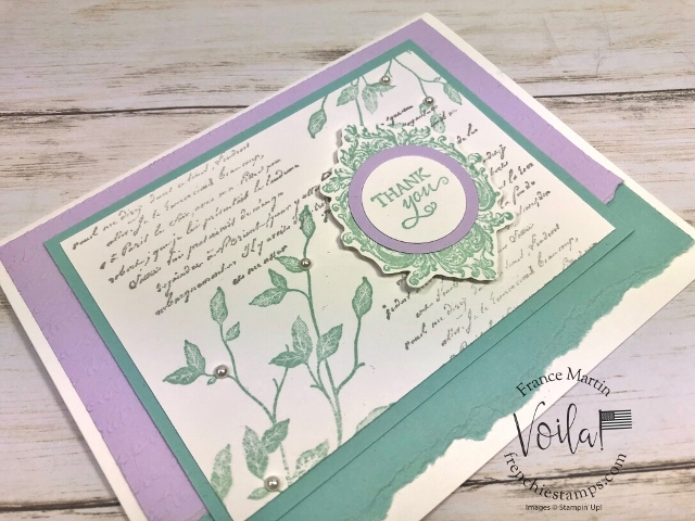 Very Versailles in pastel colors. Simple card. Free download. All supplies by Stampin'Up! avaialbel at frenchiestamps.com
