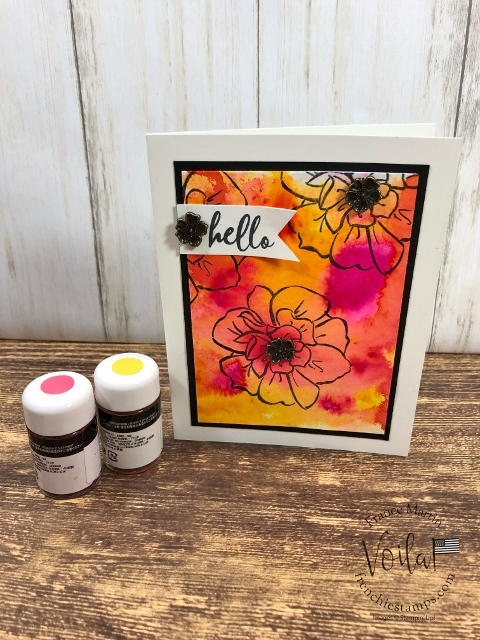 Pigment Sprinkles on watercolor paper. Stamp set To A Wild Rose. All supplies by Stampin'Up! available at frenchiestamps.com