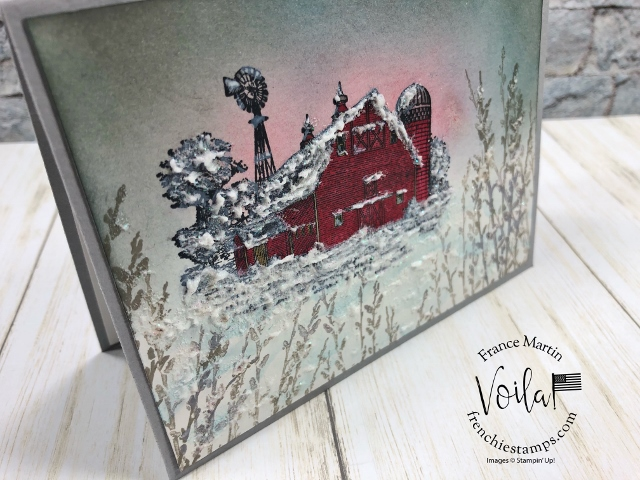 Lovely winter scene with the Heartland and Country Road stamp set. Embossing past or White craft ink. A few sample all at frenchiestamps.com All product by Stampin'Up! availabe at frenchiestamps #stampinup #stamping #frenchiestamps #cardmaking #papercrafts #handmadecards #stampingtechniquehowtovideo