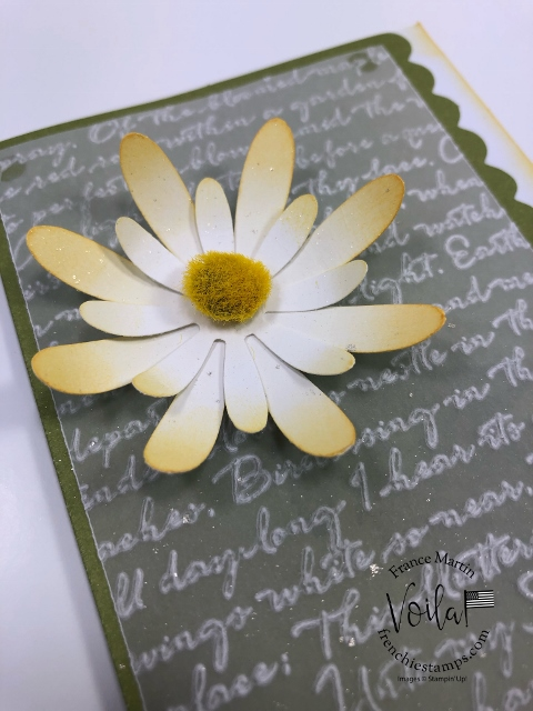 Scalloped Note Cards with Daisy Land.  Use vellum emboss cardstock with the 3D Scripty embossing Folder. Both size of the daisy punch are used to build the daisy. All product by Stampin'Up! available at frenchiestamps.com  #stampinup #stamping #frenchiestamps #cardmaking #papercrafts #handmadecards