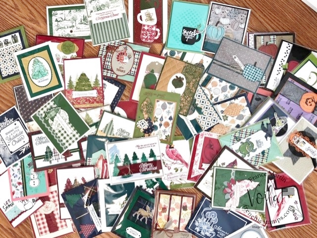 Lots of Holiday cards using products from the 2019 Stampin'Up! Holiday catalog